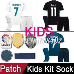 Wholesale Top Soccer Jersey Madrid - Top thailand AAA kids kit 2017 2018 Real Madrid RONALDO Soccer Jerseys 17 18 Football Shirts Black Blue white Camisetas uniform with patches