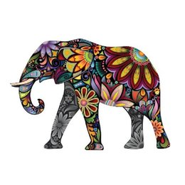 Wholesale Car Televisions - Decal Stickers Colorful Elephant car window Wall Art Decor Doors The Cheerful Elephant Peel and Stick Wall Decals