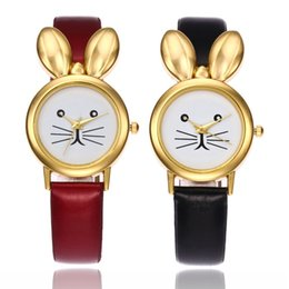 Wholesale Rabbit Watch Leather - Newest cute rabbit ears watches women girls gift casual watch thin leather ladies fashion dress quartz wrist watches