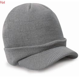Wholesale Knit Visor Hat - Unisex Women Casquette Men Casual Winter Cap Women Outdoor Snapback Peaked Hat Knitted Beanie Visors Cap Gorras Casquette Ski Hat LPQ001368