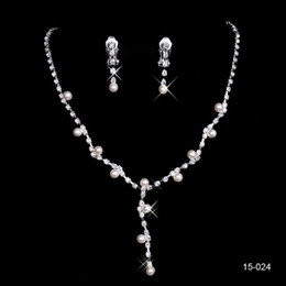Wholesale New Jewelry Necklace - New Design Elegant Silver Plated Pearl & Rhinestone Bridal Necklace & Earrings Jewelry Set Cheap Accessories for Prom Evening Free Ship 024