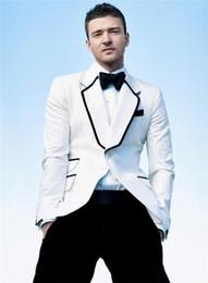 Wholesale Stylish Grooms Tuxedos White - Wholesale- 2017 New England Style Men Tuxedos Special Collar Design Groom Wedding Suits Stylish White Business Men Suits (Jacket+Pants+Bow)