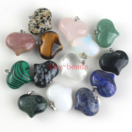 Wholesale Loose Gemstones Beads Wholesale - Charm Natural Mixed Different Gemstone Pendants High Polished Loose Beads Heart Shape Silver Plated Hook Stone Pendant Fit Necklace DIY