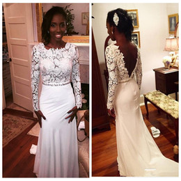 Wholesale Cheap White Lace Corset Top - 2016 White Lace Long Sleeve Top Corset Mermaid Evening Dresses African Style Chiffon Sweep Black Girls Formal Prom Party Gowns Cheap