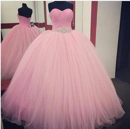 Wholesale Flooring Designs Photos - Light Pink Sweetheart Quinceanera Dresses Ball Gown New Design Floor Length Tulle Sash With Beaded Prom Dresses