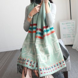 Wholesale Red Loop Scarf - Scarf Women Cashmere Five Colours Mixed Geometric Design Girls Warm Scarves Winter New Arrivals Loops 210cnx65cm Big Size Wraps S30