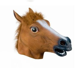 Wholesale Realistic Animal Costumes - Creepy Horse Head Mask Halloween Costume Theater Prop Novelty Latex Rubber Halloween Costume Fur Mane Latex Realistic
