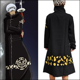 Wholesale One Piece Luffy Costume - Wholesale-Free shipping Anime Japan One piece Cosplay Trafalgar D Water Law Cope Animation Reality show addict Luffy Black customer