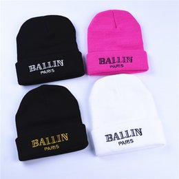 Wholesale Gold Beanies - Women'S Winter Hat Ballin Paris Embroidery Knitted Beanies Hats Hip Hop Ski Cap Warm White Black Pink Gold Colors