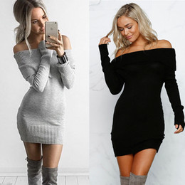 Wholesale Grey Black Sweater Dress - Womens Slash Neck Off Shoulder Slim Sexy Sweaters Grey Fashion Long Sleeve Knitting Pullovers Black Sweater Dresses Knitwear