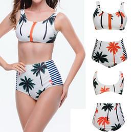 più il costume da bagno di grandi dimensioni del collo Sconti Coconut Palm Tree Bikini Set, Collo alto Tank Zipper Costume da bagno a righe Reggiseno imbottito Vita alta Costumi da bagno Vintage Costume da bagno Plus Size