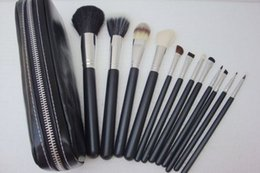 Wholesale Brush Free Number - Free Shipping ePacket New Makeup Blusher 12 Pieces Brush Sets+Leather Pouch!!With Numbered!