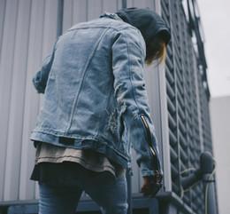 Wholesale Top Brand Denim Jackets Men - Tops Hip Hip Brand Destroy Washed Denim Jacket Mens Quality 2016 Zippered Sleeve Design Kanye West Retro Coats
