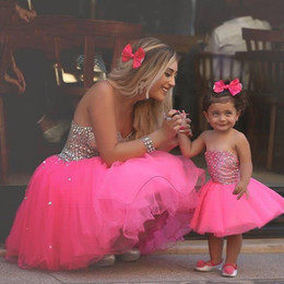 Wholesale Children Strapless Flower Gown - Cute Flower Girl Dresses 2016 Hot Fuchsia Short Mom-Child Gowns Strapless with Beads Tiers Tulle Mini Ball Gowns Baby Birthday Party Wear