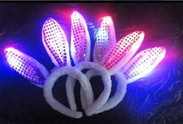 Wholesale Raving Rabbits - Novelty Flash LED Hair Bands Bow Light Up Toys Prom Dress Up Rave Toy Flashing Rabbit Ears Headband For Halloween Xmas Party Supplies