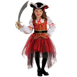 Wholesale Teenage Pirate Costume - Free shipping children girls pirate cosplay halloween costume