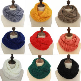 Wholesale Scarf Ring For Men - Infinity Scarf Winter Scarf Men Women Warm Infinity Scarfs for Women Long Scarf Neckerchief Cheap Scarves Knitted Scarf Plain Scarves 1981