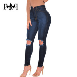 Wholesale Vaqueros Woman Sexy - Wholesale- Women High Waist Jeans Plus Size Ladies Pencil Pants Sexy Knee Hole Casual Wear Ripped Denim Jeans Women Vaqueros Mujer