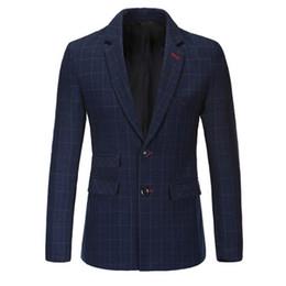 Wholesale Suite Jackets - Wholesale- New Slim Fit Casual jacket Cotton Men Blazer Jacket Single Button Gray Mens Suit Jacket 2016 Autumn Coat Male Suite