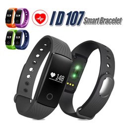 Wholesale Metal Smart Watches - ID 107 For Iphone X Smart Band Smart Watch Bluetooth Smart WristBands Bracelet With Metal Button Heart Rate Monitor With Package