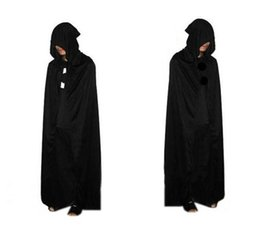 Wholesale Princess Cloak Coat - Free Shipping 2016 New Women Men Black Hood Cape Halloween Costumes Fairytale Princess Christmas Cloak Coat Costumes Cosplay for Adults