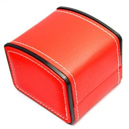 Relógios de cor pacote on-line-4 pçs / lote Preto / Vermelho / Marrom PU learher Costura RELÓGIO CAIXA Caixa de Jóias Embalagem Pode Misturar Cor AtacadoMarca Marca LOGOTIPO