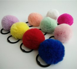 Wholesale Real Hair Accessories - Real Rabbit Fur Cute Round Pom Ball Furry Rex Rabbit Fur Ball Girl 'S Lovely Headwear Ropes Kids Accessories Elastic Hair Bands