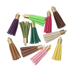 Wholesale Macrame Pendants - New Fashion 54mm Suede Tassels Pendants Mix Color Macrame For Jewelry Accessory Making DIY Material Findings