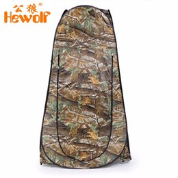 Wholesale Two Room Tents - Wholesale- Outdoor Lightweight Waterproof Moving Shower Toilet Tent Privacy Changing Bath Shelter Fitting Room Pop Tent With Bag Camouflage