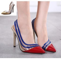 Wholesale Ladies Patchwork Shoes - 2017 Gold Red Patchwork Patent PU Leather Sling Back Pointed Toe Pumps Ladies Sexy High Heels Wedding Shoes Size 35 To 40