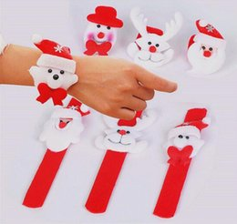 Wholesale Cheap Wholesale Xmas Gifts - Christmas Slap Bracelet Santa Claus Snowman Pat Circle Hand Ring Wristhand Baby Kids Toys Xmas Decoration Ornament Cheap Promotion Gifts
