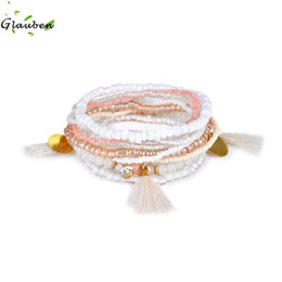 Wholesale Colored Acrylic Circles - Vintage Bohemian Bracelets with Multi-layered Ocean Love and Multi-colored Ladies Bracelets Wedding Party Gift Hand Ornaments