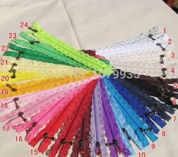 Wholesale Nylon Zipper Bags For Retail - Free shipping 24 Colors 10pcs lots 20cm Nylon Coil Beautiful Lace Zippers for DIY bag etc Tailor Sewer Craft Retail Sewing accessories