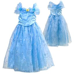 Wholesale Blue Carnival Costumes - 2016 new movie cinderella princess halloween costumes for children girl carnival cinderella butterfly dress for party free shipping in stock