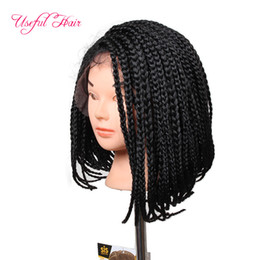 Wholesale Hair For Braiding Micro Braids - 14inch braided lace front wig Bob wigs for natural synthetic lace frontal wig Micro Braided Wigs African American Hair short wigs for women