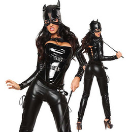 Wholesale Cosplay Costumes Fetish - Black Faux Leather Bodysuit Halloween Costumes for Women Fetish Erotic Lingerie Cosplay Catwoman Latex Catsuit with Sexy Mask