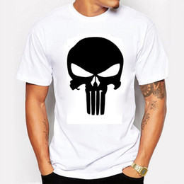 Wholesale Punisher Shirt Xl - The Punisher Skull Men Fashion T Shirt Print Marvel Comics Supper Hero Clothes HIP HOP Style Cool Summer T shirt Men Clothing