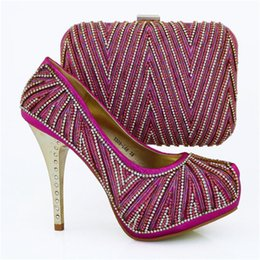Wholesale Ladies Dress Wedges - Most popular high heel 12.5CM african shoes matching hand bag set with nice rhinestone ladies pumps for party dress 1308-L66 fuchsia