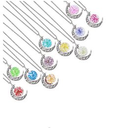 Wholesale Dried Flowers Glass - Dried Flower Collares Glass Square Pendant Necklace silver Color The moon Chain Statement Necklace Women Fine Jewelry 2016