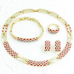 Wholesale Earrings Gold 18 - Fashion Dubai 18 K Placcato Oro Set di Gioielli vintage collana Africani Cristallo Austriaco Donne Regalo di Nozze