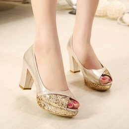Wholesale Eva Gowns - Glitter sequins gold heels silver wedding shoes bride shoes comfortable mid heel pumps princess style prom gown dress shoes size 35 to 39