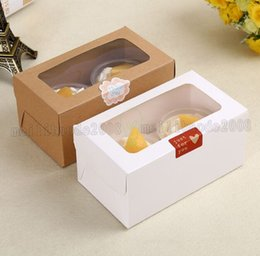 Wholesale Muffins Paper Tray - kraft Card Paper Cupcake Box 2 Cup Cake Holders Muffin Cake Boxes Dessert Portable Package Box Tray Gift Favor MYY