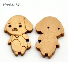 "Wholesale Dog Buttons Sewing - Free Shipping 300PCs Dog 2 Holes Wood Sewing Buttons Scrapbooking 24mmx16mm(1""x 5 8"") Craft DIY"