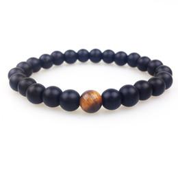 Wholesale tiger eye stone bracelet men - SN0348 New Design 8mm Matte Black onyx with a tiger eye bead Bracelet Men Stone Bead Bracelets