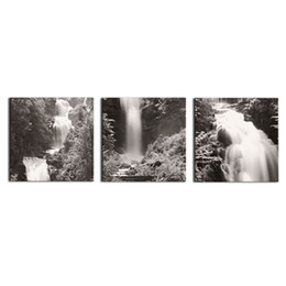 Wholesale Painting Home Images - Wall Art 3 Panel Black and White Images Waterfall canvas prints Home Decoration living room modular painting Print cuadros