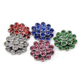 Boutons de couleur multicolores en Ligne-Date multicolore cristal pavé alliage métal bouton pression bouton charms pour faire de la mode bricolage 18mm bouton pression bijoux