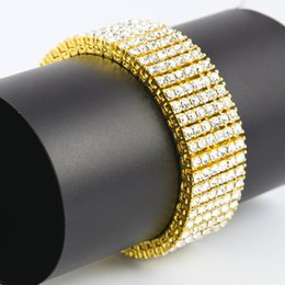 Wholesale Mens Gold Box Bracelet - Top Fashion Mens 6 Row Gold Black Silver Finish Iced Out Hip Hop Bracelet Simulated Diamonds Bling Bling Jewelry High Promotion