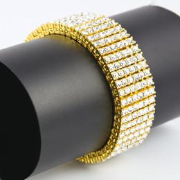 2019 gold-diamant-tennis-armbänder Top Fashion Herren 6 Row Gold / Schwarz / Silber Finish Iced Out Hip Hop Armband Simulierte Diamanten Bling Bling Schmuck Hohe Förderung günstig gold-diamant-tennis-armbänder