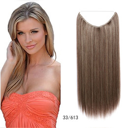 Wholesale Hair Extensions Curtain - 20'' Long Fish Curtain Line Clip in NaturalSilky Straight Synthetic Hair Extension Hairpiece Queen Heat Resistant Fake Hair