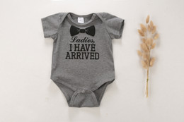 Wholesale Wholesale Christmas Onesies - 2016 Summer New Infant Baby Letters Bowtie Printed Rompers Newborn Babies Short Sleeve Jumpsuits Toddler 100% Cotton Onesies One-Piece